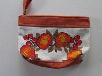 オレンジ色の果物と赤い実のポーチの画像