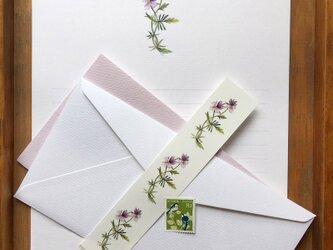 紫すみれ 便箋の画像