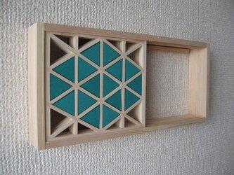 手作り組子細工 組子の小窓 ダイヤ柄(エメラルド)の画像