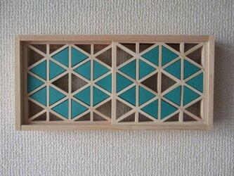 手作り組子細工 組子の小窓 ダイヤ柄(エメラルド・中あき)の画像