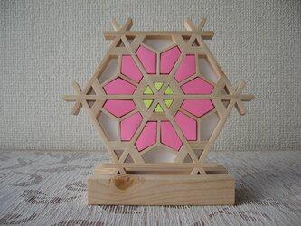 組子細工 置き飾りミニ ピンク お雛祭り向き【面取り加工済みでお子様にも安心・安全】の画像