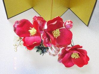 着物 髪飾り 成人式 卒業式 椿 赤系 和 ヘアアクセサリー 和服の画像