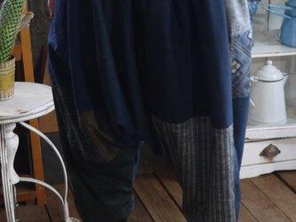 大島紬等の正絹パッチワークサルエルパンツの画像