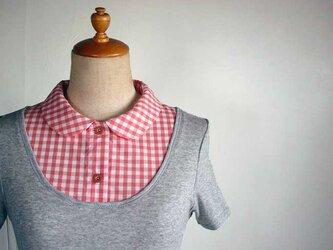 オレンジチェック柄小さめ丸襟の付け襟インナーバージョン(杢グレー半袖)の画像