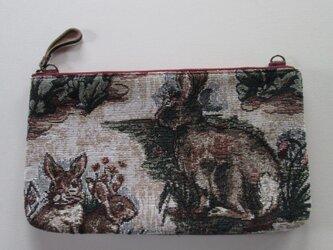 ゴブラン織りのウサギのポーチの画像