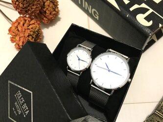 2size ステンレスペアウォッチ 上品シンプル腕時計<s-0012>の画像