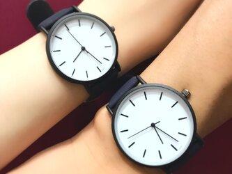2size ネイビーペアウォッチ 上品シンプル腕時計 <j-0078>の画像