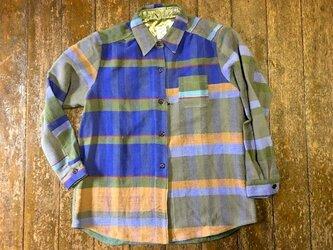 さをり織り素敵青色系 シャツ ジャケット 送料無料の画像