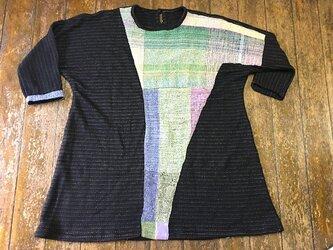 さをり織り+柔らかいジャージ布チュニック丈ワンピー 送料無料の画像