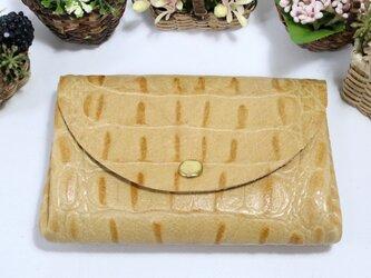 万能な小財布★高級カーフ★薄キャメル★お札からカードまで(8126)の画像