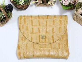 四角な小財布★高級カーフ★薄キャメル★お札からカードまで(8127)の画像
