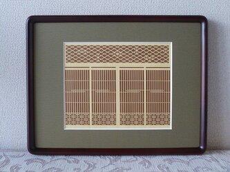 麻の葉と蜀江 黄格子 茶背景の画像
