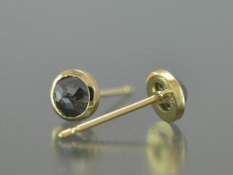 片側のみ K18YG ナチュラルグレイ・ダイヤモンド 0.34ct スタッドピアスの画像