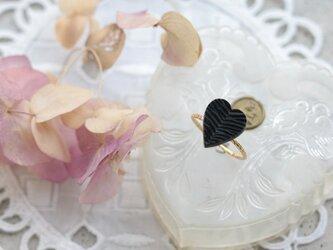 フランス製アンティーク・カボションのリング(ハート・リーフ)の画像
