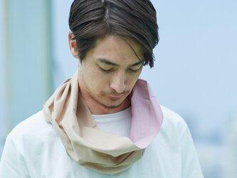 てぬぐい Oo[ワオ]  Pink × Beige 【Lサイズ】の画像