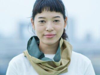 てぬぐい Oo[ワオ]  Green × Khaki【Sサイズ】の画像