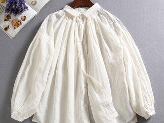 f8010202 着回しの一枚になれる 麻のシャツ 麻100% 長袖 ホワイトの画像