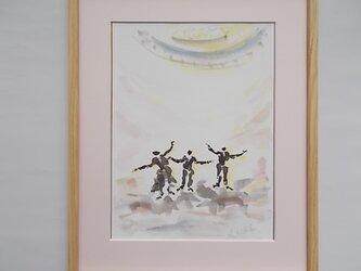 絵画 インテリア 額絵 墨と水彩のコラボ画 sing  a songの画像