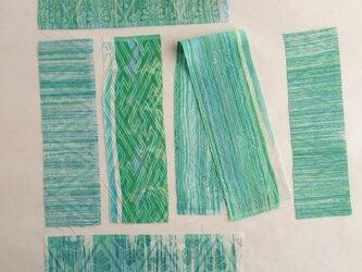 絹手染ハギレ小(緑系6枚)の画像