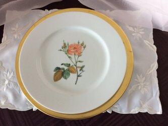 ボタニカルアートのバラのディナー皿の画像