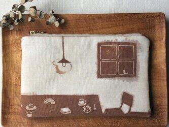 柿渋染め ポーチ「コーヒとお菓子と小さな窓辺」の画像