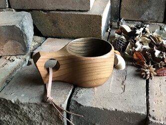 木製マグカップ 『ケヤキ』ククサ 内面錆漆仕上げ his-137 北欧の画像