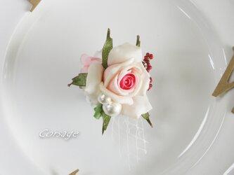 コサージュ 入学式 卒業式 入園式 コットンパール ローズ バラ corsageの画像