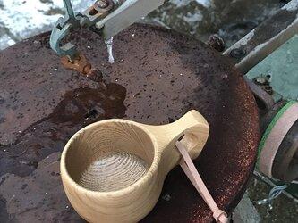木製マグカップ 『タモ』ククサ 内面漆仕上げ his-132 北欧の画像
