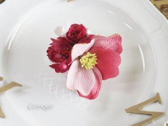 和のコサージュ 入学式 卒業式 入園式 ちりめん花 椿 corsageの画像