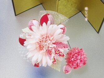 着物 髪飾り 成人式 卒業式 ピンク系 和 振袖 ヘアコーム ガーベラの画像