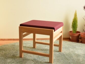 ヒノキのベンチ スツール 座面の帆布 ワイン色の画像