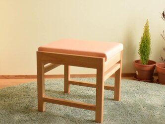 ヒノキのベンチ スツール 座面の帆布 ピンク色の画像