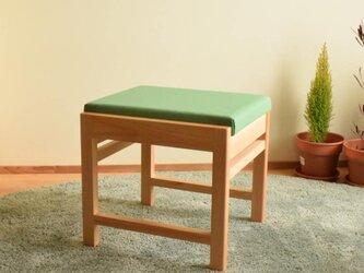 ヒノキのベンチ スツール 座面の帆布 グリーン色の画像