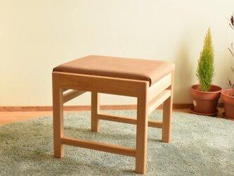 ヒノキのベンチ スツール 座面の帆布 薄茶色の画像