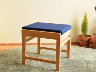 ヒノキのベンチ スツール 座面の帆布 花紺色の画像
