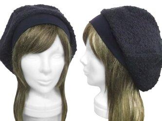透かし織ネップニット/リブ付ベレー帽(ゆったり)◆ネイビーの画像