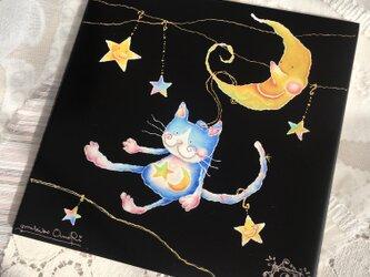 飾りタイル・猫のエミリー〜月のリフトの画像