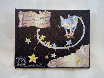 猫のエミリー☆星のダンス(アートキャンバスパネル)の画像