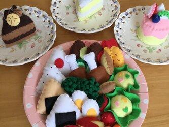 受注製作【フェルトままごと】**ままごとセット&ケーキ**の画像