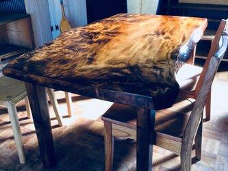 栃の一枚板テーブル 拭き漆仕上げ 受注製作の画像