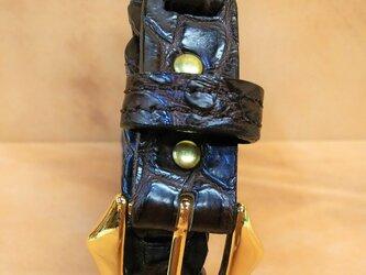 ワニ(ナイルクロコダイル)革レディースベルトの画像