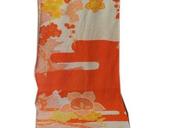s0012 梅紋様着物ハギレ・橙☆古布・古裂/絞り/錦紗縮緬/正絹/人絹/モスリンの画像
