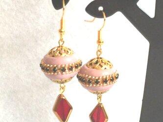 キラキラモロッコ風ピアス / イヤリング - ピンクの画像