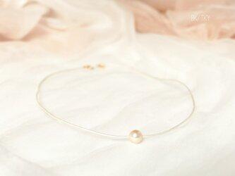 《受注制作》アコヤ一粒革紐ネックレス 革紐はmyカラーで!の画像