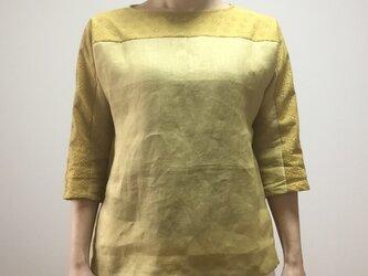 刺繍レース切替リネンドルマンスリーブブラウス(ミモザイエロー)の画像