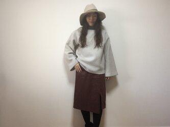 コーデュロイIラインスカート(ボルドー)の画像