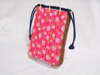 帆布赤ピンク製 #ショルダー付き #合切袋 #信玄袋 #巾着 #渦巻き #ポップ #着物 作務衣 浴衣   の画像