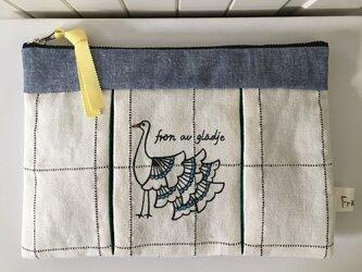 鳥プリーツポーチ チェック柄 ミドルサイズの画像