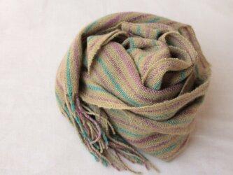 【カシミヤ・手紡ぎ・手織り】 よもぎで染めたグリーンに紫と緑のラインの画像