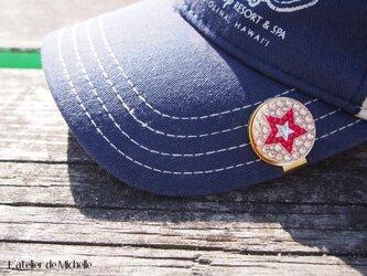 ゴルフマーカー(星・サーモンピンク&レッド)の画像